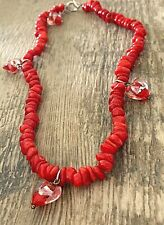 """Nat Ruby Red Coral Crystal Heart Love Protection Necklace 16"""" absorb negativity"""