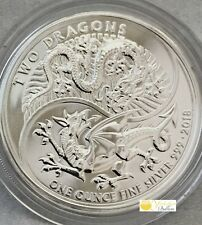 2018 Royal Mint Two Dragons  1 oz Silver Bullion Coin