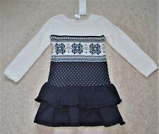 Gymboree Girls' White Fair Isle Long Sleeves Sweater Dress - Size 4
