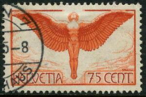 SWITZERLAND - 1924 AIR MAIL 75c 'RED-ORANGE & CLARET' SG326 FU Cv £110 [A7516]*