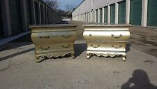 Pair of Vintage Henredon Gold Toned Silver Leaf Bombe Two-Drawer Commodes Chests