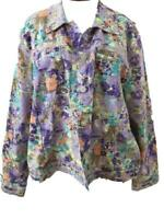 Christopher Banks blazer size XL long sleeve top 2 pockets linen cotton floral