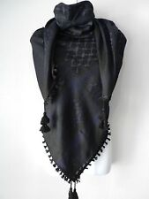 Dark Blue Black Arab Unisex Shemagh Head Scarf Neck Wrap Authentic Cottton