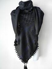 Dark Blue Black Arab Unisex Shemagh Head Scarf Neck Wrap Authentic Cottton