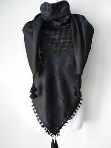 Black Dark Blue Unisex Shemagh Head Scarf Neck Wrap Authentic Cotton Face Cover
