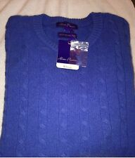 NWT Alan Flusser $278 Bayside Blue Pure Cashmere Cable Knit  Sweater L Large
