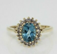 9ct Yellow Gold Blue Topaz and Diamond Cluster Ring (Size N, US 6 3/4)