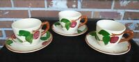 Vintage Set of 3 USA Franciscan Apple Coffee Tea Cups with Saucers