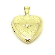 9ct Real Diamond Set Heart Shaped Locket  in Yellow / White / Rose Red Gold