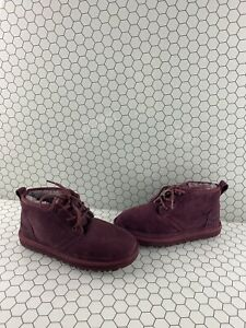 UGG 'NEUMEL' Burgundy Suede Fur Lined Lace Up Chukka Ankle Boots Men's Size 5