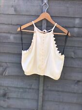 FOREVER 21 IVORY HALTER NECK TOP. FRILL. LACE. SIZE SM (UK8-10). BNWT