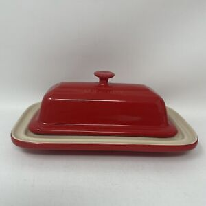Le Creuset Butter Dish Cherry Red Cerise Lid Bottom Stoneware