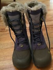 Girls The North Face Snow Boots Size 4 Lavender Fur HeatSeeker Lace-Ups