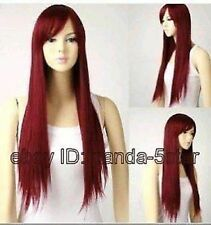 wigs sain Femmes rouge long droit Cosplay complète perruque de cheveux de fête