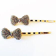 USA Bobby Pin Rhinestone Crystal Hair Clip Hairpin Wedding Bowknot Gold B44