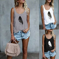 Womens Ladies Vest Basic Summer T Shirt Holiday Blouse Cami Loose Feather Tops