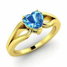 10K Yellow Gold 0.88 Ct AAA Blue Topaz Heart Solitaire Ring Size J K L M N O P R