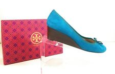 New Tory Burch Women Shoes Leather Suede Blue Leather Pumps Bow Wedges Sz 10.5 M