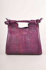 "Kathryn Allen NWT $4800 Purple Crocodile Leather Structured ""Hampton"" Tote Bag"
