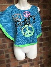 Green & Blue Cold Shoulder PEACE Top - Size 8-10 -  JUSTICE