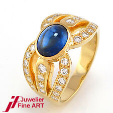 Ring 18K/750 Gelbgold - Saphir 1,86 ct - Brillanten 0,80 ct TW/lupenrein - 8,0 g