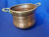 Vintage Handmade Small  Copper Pot Cauldron Kettle Vase with brass Handles