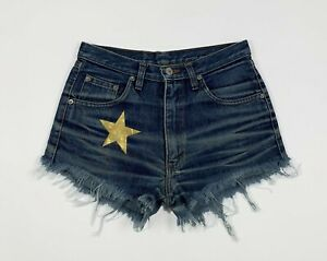 shorts star jeans donna usato W28 tg 42 mom hot high waist custom sexy T5188