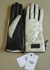 NWT UGG S/M ALL WEATHER FABRIC LEATHER SMART TOUCH GLOVE Ivory UR POWERED 20044