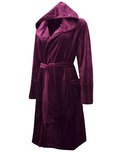 Ladies WINE Supersoft Moleskin Hooded Dressing Gown Size 8/10 to 20/22 LDOct05-8