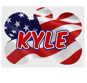 AMERICAN FLAG PET ID TAG Personalized Any Name Dog Tag Printed on 2 Sides
