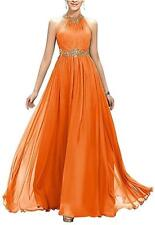 Halter Chiffon Bridesmaid Prom Dresses Formal Wedding Party Ball Gown Stock 6-20