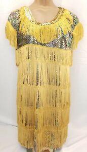 Vintage Flapper Dress Roaring Gatsby 20s Cocktail Dress Gold Fringe Sequin