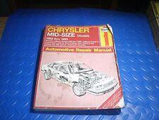 Haynes chrysler mid size models 1982-93 manual 1337