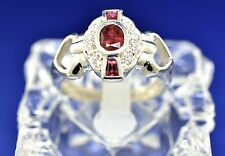 Platinum, Ruby, And Diamond Ring. Size 6