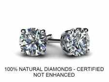 CARAT NATURAL DIAMOND SOLITAIRE STUD EARRINGS COLOR D VS2 ROUND 14K WHITE GOLD