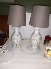 Pair Small Bedside Table Lamps MCM Zen White W Raised Pussy Willow