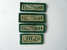 4 VINTAGE SCHOOL SPORTS EMBROIDERED PATCHES / BADGES - 66 x 18 mm & 53 x 25 mm