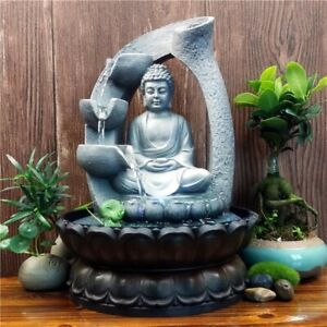 Resin Zen Lotus Buddha Statue Led Fountains Feng Shui Home Office Decorations