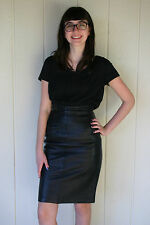 80s Vintage Black Leather High Waist Pencil Skirt Michael Hoban North Beach