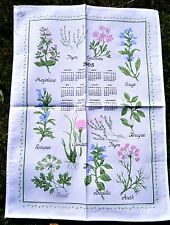 TORCHON CALENDRIER 2005 PLANTES AROMATIQUES THYM BASILIC CORIANDRE SAUGE ANETH