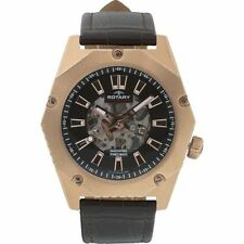 Rotary Men's Automatic Fusion Brown Leather Strap Skeleton Watch - GS03602/A/04
