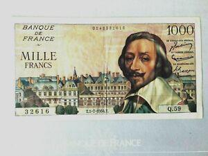 1000 FRANCS RICHELIEU 1-7-1954 .