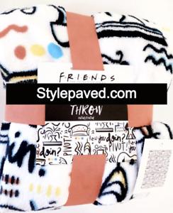 FRIENDS TV CENTRAL PERK Throw Primark Fleece Blanket Soft Logo Allover White