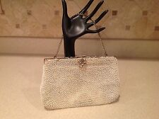 Ladies Vintage Off White Beaded Purse Clutch Hand Bag Flower Clasp Metal Strap