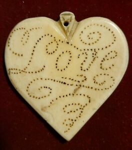 Most Rare 19th Century Whaler's Pique Bovine Heart Scrimshaw Love Token