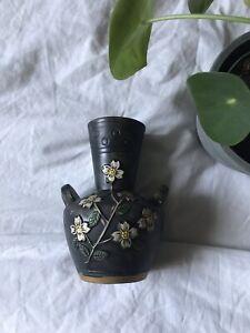 Black small ceramic vase cherry blossoms White And Gold Details Floral Unique
