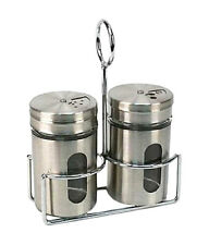 NEW STAINLESS STEEL SALT & PEPPER SHAKERS  WITH RACK BY LUCIANO