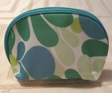 New Clinique Green, Yellow, and Blue Flowered Cosmetic Bag