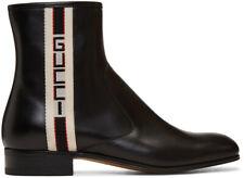 Gucci Mens Bonny Black Leather White Red Web Logo Chelsea Zipper Boots G 6 7
