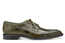 Belvedere Mens Shoes Batta Olive Genuine Ostrich Lace Up 14006